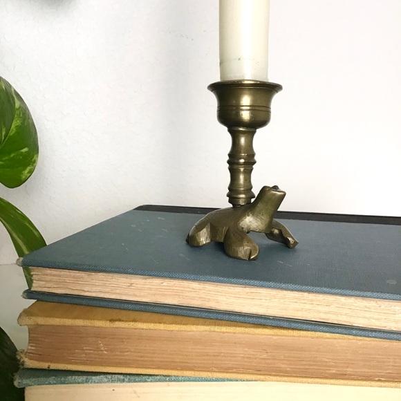 Vintage Brass Turtle Candlestick Holder